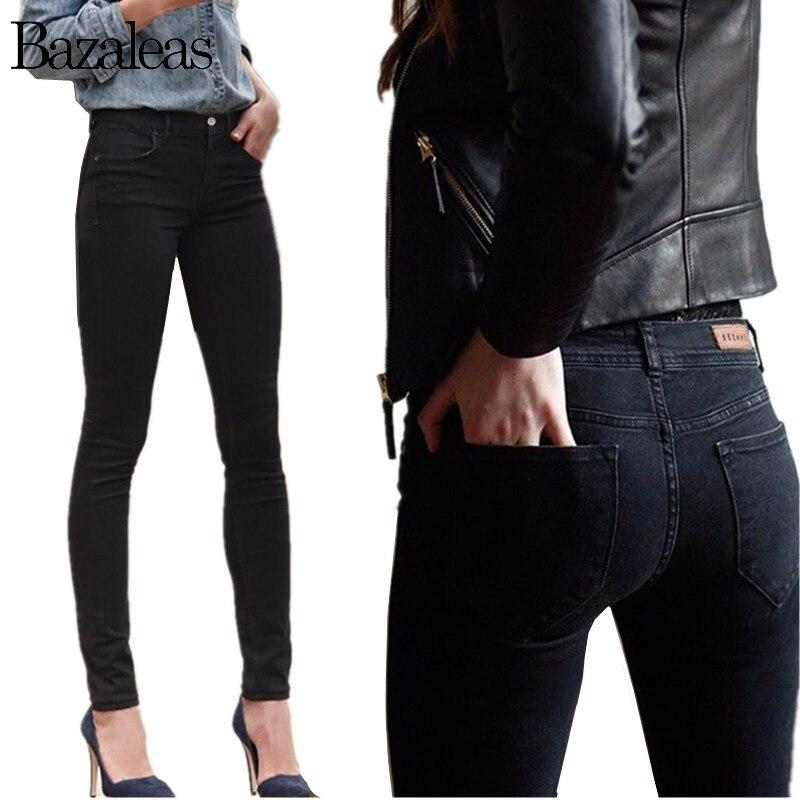 Bazaleas 2019 Women Jeans Stretch Skinny Pencil Pants Black Casual Denim Female Jean