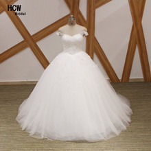 HCWBridal 2019 Arabic Wedding Dress Ball Gown Cap Sleeve