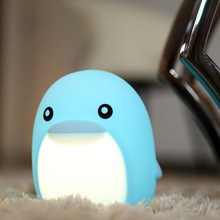 7COLOR Dolphin Soft Silicone Touch Pat Lamp  Rechargable Animal Light Baby Nursery Bedroom Home Decor LED Night