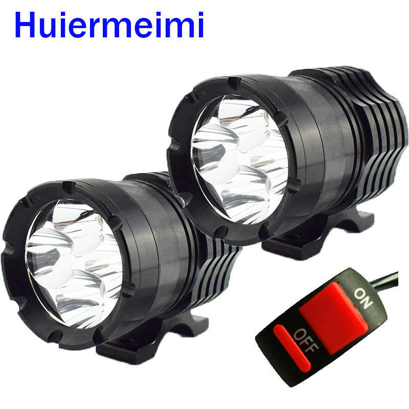 Huiermeimi 1Pair Motorcycle Headlight 12V 40W LED Motobike Spotlight Moto Driving Hi lo Beam Headlamp Head Light Decorative Lamp