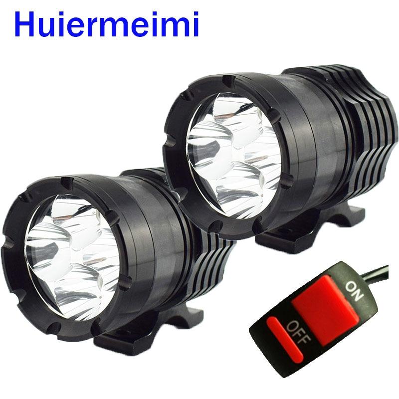Huiermeimi 1Pair Motorcycle Headlight 12V 40W LED Motobike Spotlight Moto Driving Hi lo Beam Headlamp Head Light Decorative Lamp