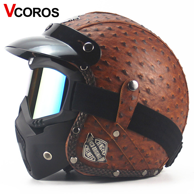 VCOROS vintage PUleather motorcycle helmet retro motorbike helmet and fashion classic mask 3/4 open face moto racing helmets цена