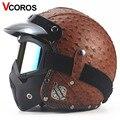 51b8c9b7ca4bd VCOROS PUleather motocicleta capacete retro capacete de moto e clássico da  moda do vintage máscara 3
