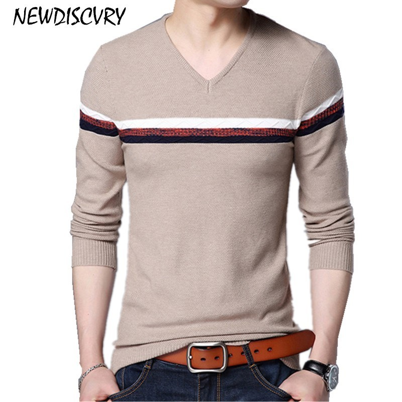 NEWDISCVRY Men's Striped Sweater Casual O-Neck Men Knitted Pullover Clothes 2018 Autumn Winter Cotton Man Knitwear Pull Shirt