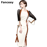 Vfemage Women Autumn Elegant Flare Bell 3 4 Sleeve Vintage Wear To Work Office Business Cocktail
