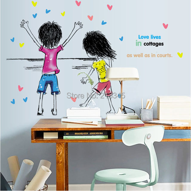[Saturday Mall] - sweet and warm couple cute cartoon boy and girl wall stickers decorative home decals Creative Arts 6810