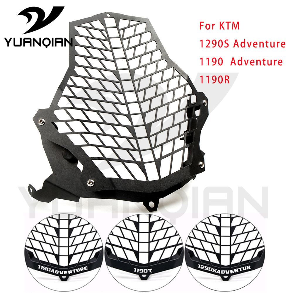Stainless Steel Motorcycle Headlight Grill Cover Head Light HeadLamp Guard For KTM1190 Adventure motorcycle scooter electroplate front headlight headlamp head light lamp small mask cap cover shield large for yamaha bws x 125