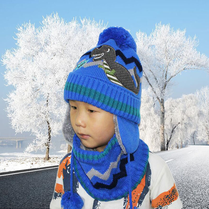 Thick Warm Winter Hats Boy Skullies Beanies Winter Hat Caps for Boy Girl Woolen Scarf Hats Balaclava Knitted Mask Hat