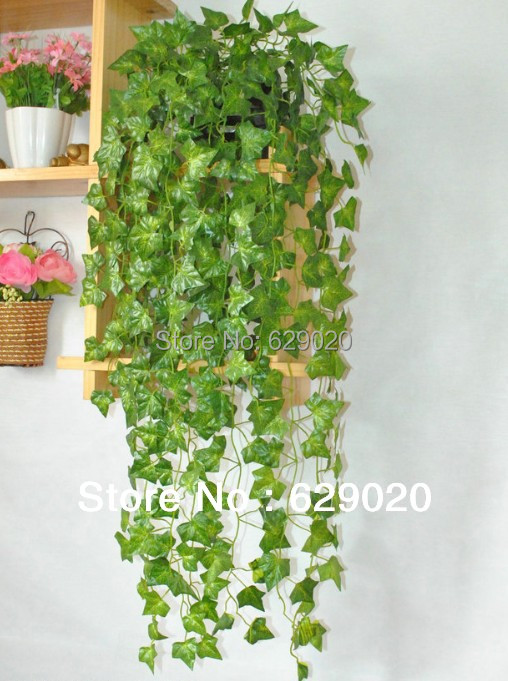2 manojo falso verde ivy articifical seda ivy cuelga en casaexterior decoracin falsa dejar las plantas 320 hoja en artificial y flores secas de casa y - Plantas Colgantes Exterior
