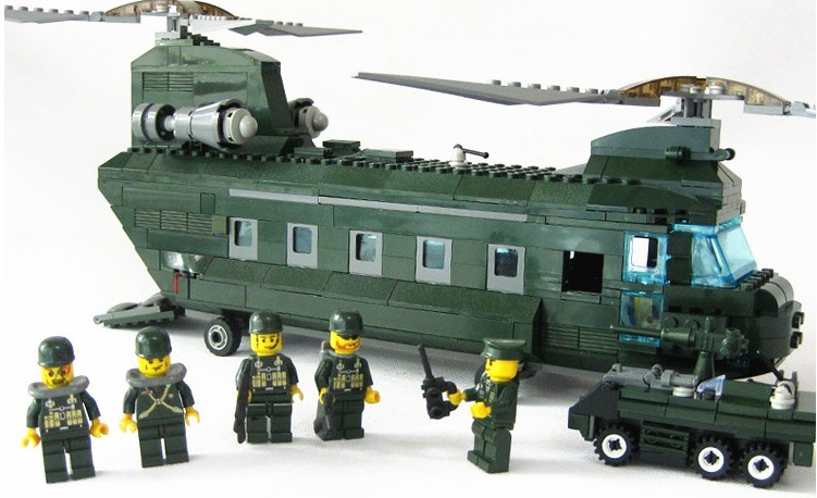 KAZI 84009 3D construction educational Building Blocks Set Military transport aircraft Helicopter kids toy compatiable with lego