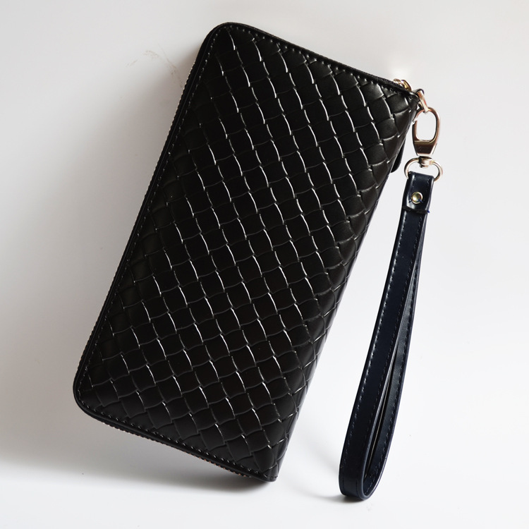 2016 High Quality free shipping Sheepskin Genuine Leather Woven Women and man unisex Long Wallet Famous Brand Designer Bags