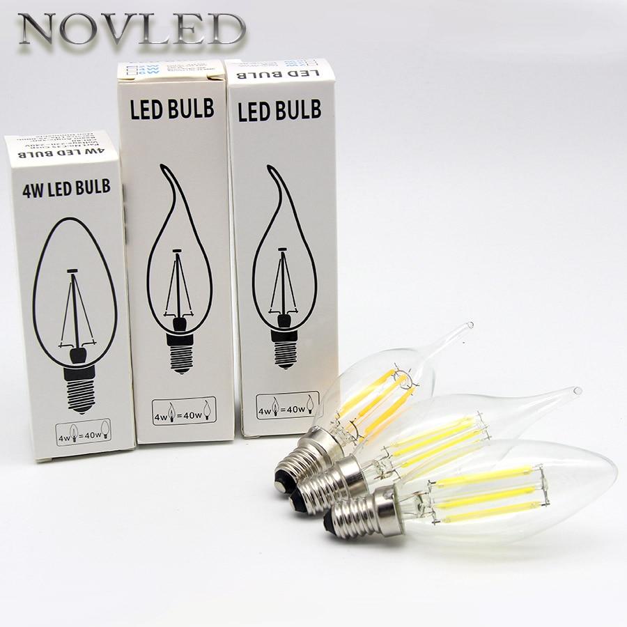 Pull Tail Light LED Bulb AC220V Candle Flame Bulb E14 E27 2W 4W 6W Filament Incandescent Lamp Warm White Nature White Lighting