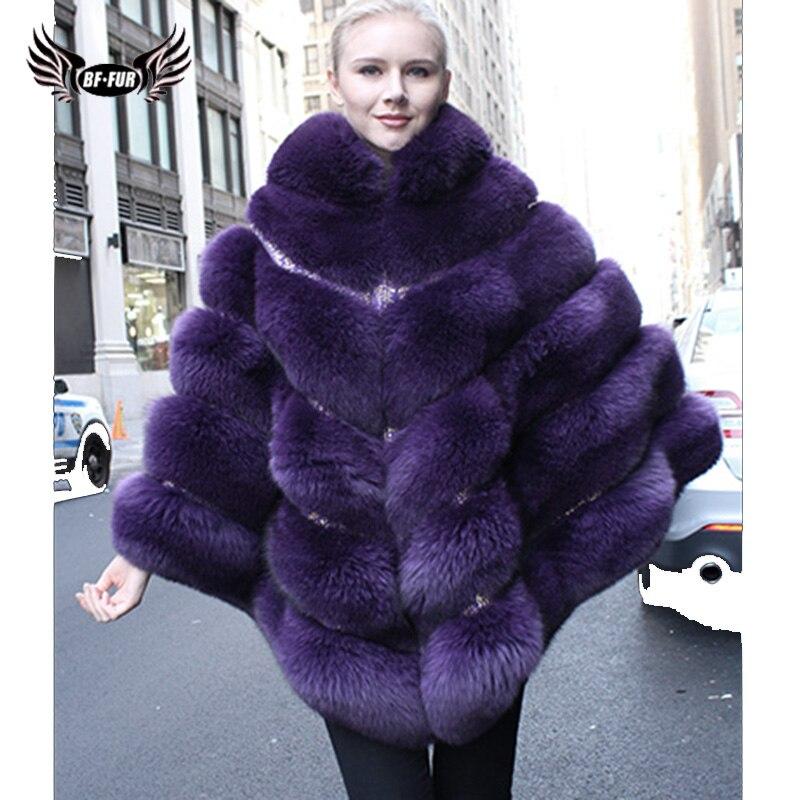 BFFUR женские зимние пальто 2018 Новая мода тонкий мех лисы пальто для Для женщин натуральный мех пончо без рукавов жилет плюс Размеры англия Ст