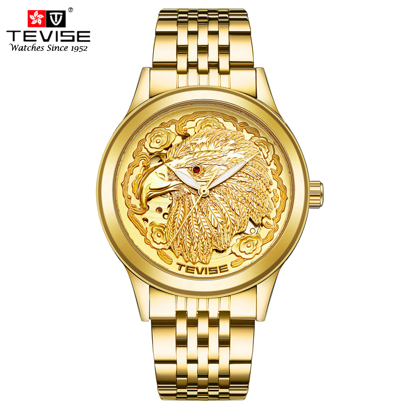 TEVISE Men Luxury Gold Mechanical Self-Wind Watch Noble Automatic Wristwatch Man Stainless Steel Eagle Watch Relogio Masculino колпак diffusor k50 1