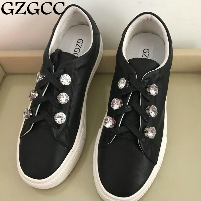 GZGCC 2017 spring autumn hot selling leisure shoes fashion crystal design Increased within comfortable shoes-in Women's Flats from Shoes    1