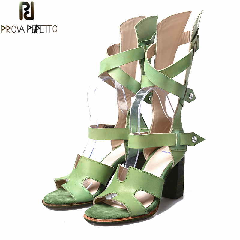 Prova Perfetto Euramerican New Style Women Sandals Boots Leather Belt Hollow Out Square High Cover Heel Rome Summer Sandals Shoe fashionable women s sandals with platform and hollow out design
