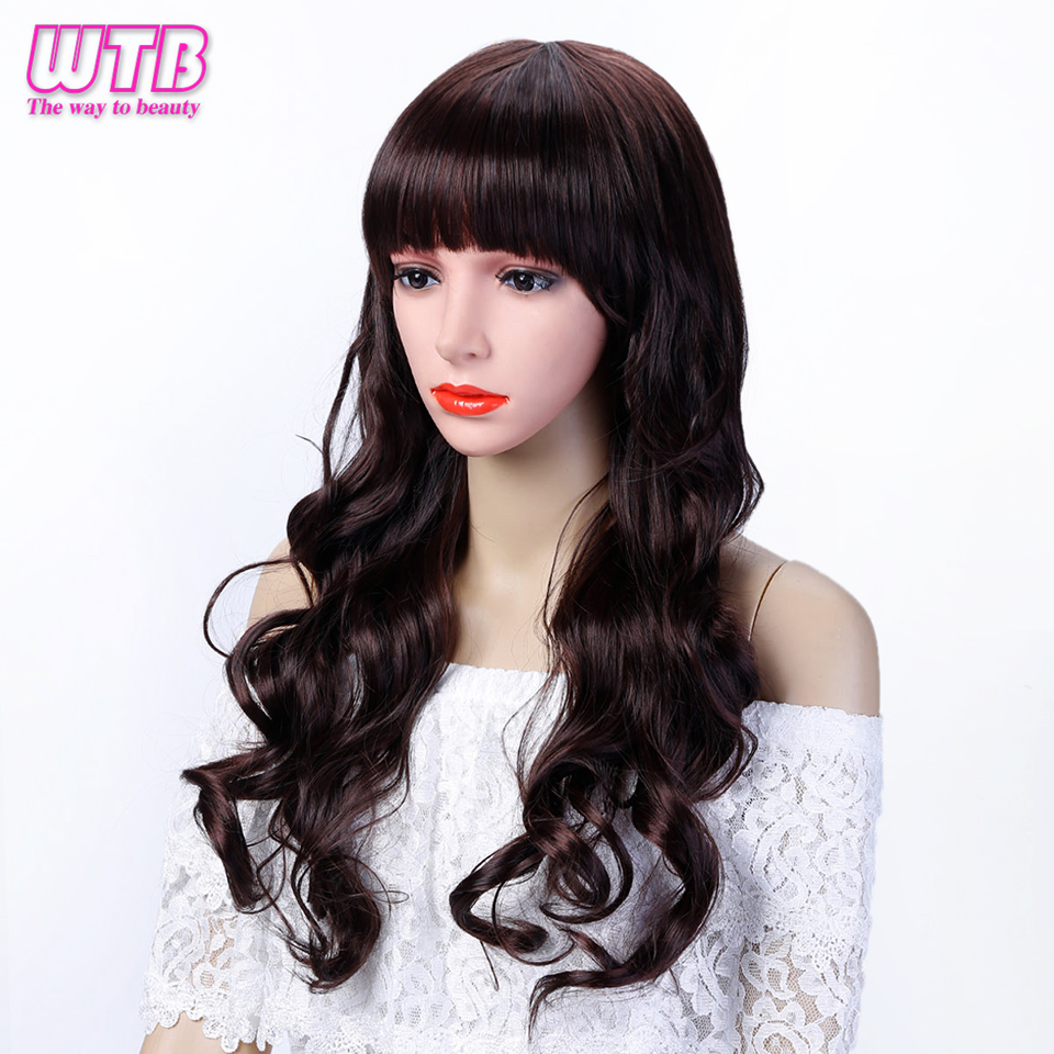 100% Quality Wtb Long Wavy Flat Bangs Wigs For Women Heat Resistant Wigs For African American Cospaly Wig