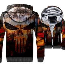 цены на Skull 3D Print Hoodie Men Hip Hop Sweatshirt Winter Thick Fleece Warm Zip up Coat Swag Jacket Cool Streetwear Mens  в интернет-магазинах