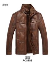 New Men's leather jacket coat thickness man leather male motorcycle coat Leather Jacket, PU overcoat with woolen