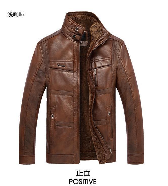 De Homme Brown Cuir Brown Moto Brown Manteau Nouveaux light Hommes Cuir Laine Pu Veste Masculin En Épaisseur Black dark qFw6PY