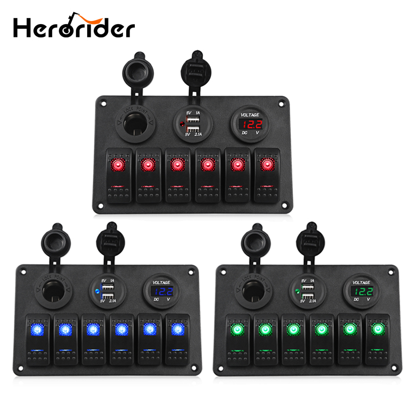 Herorider Car Switch Panel Dual USB Car Charger 12V Voltmeter 6 Gang Auto Boat Marine Cigarette