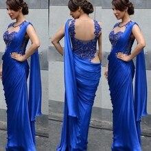 Индийские сари вечерние платья Русалка Длина до пола кружева Формальные Королевский синий Chffon вечерние платья Китай