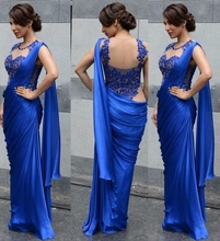 Indian Saree Evening Dresses Mermaid Floor Length Lace Formal Royal Blue Chffon Gowns China