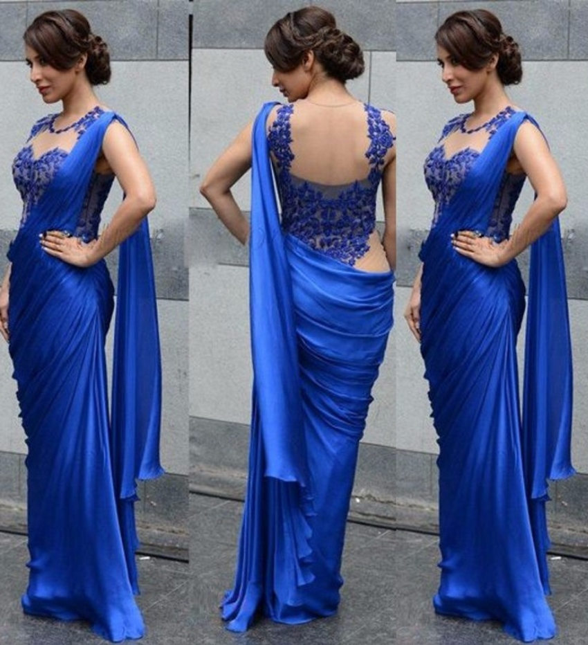 Indian Saree Evening Dresses Mermaid font b Floor b font Length Lace Formal Royal Blue Chffon