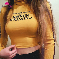 WannaThis QUENTIN TARANTINO Crop Tops Women Long Sleeve Side Stripe Turtleneck Skinny Short T Shirt 2018