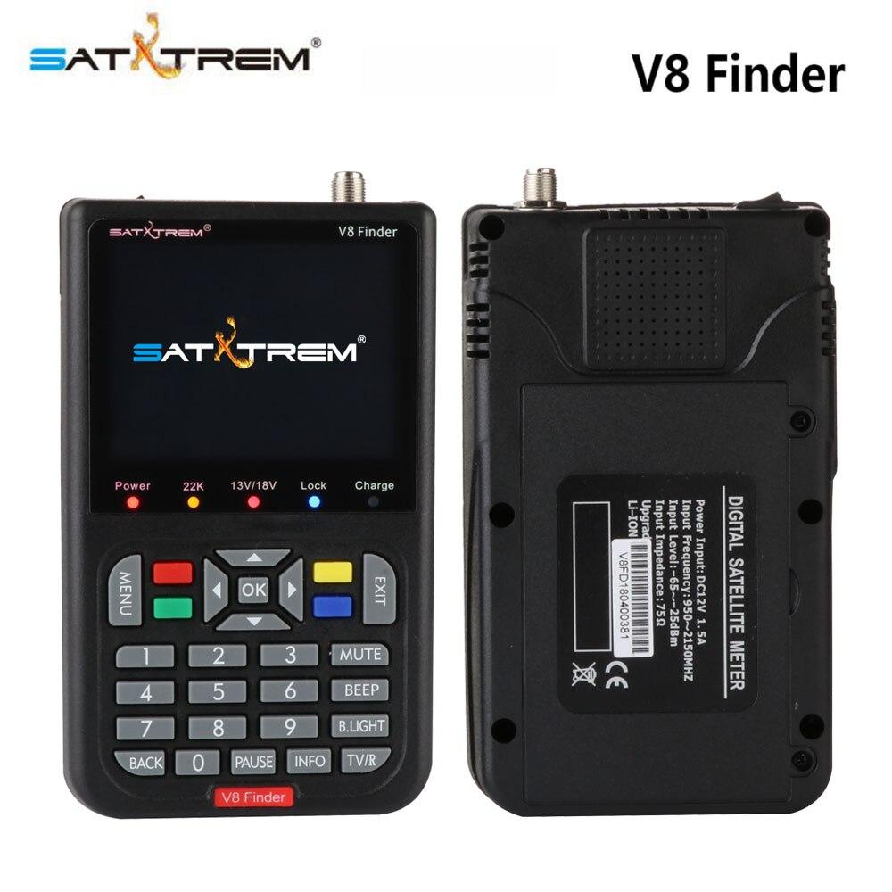 Satxtrem Black V8 Finder DVB-S2 High Definition Digital Satellite Finder MPEG-4 DVB S2 Satellite Meter Full 1080P FTA Sat finder