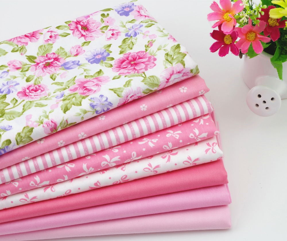 Baby Pink floral stripe bowtie cotton fabric patchwork set ...