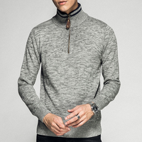 Winter Warm Male Pullover Half Zipper Korean Turtleneck Sweater Men Jumper Knitwear Grey Brown Navy