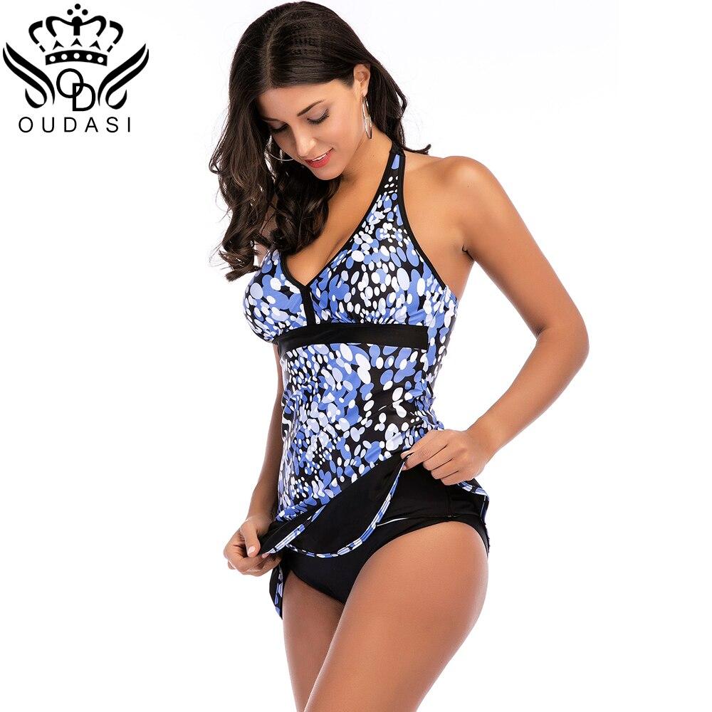 4879800f23 Plus Size Swimwear Women Tankini Sets Large Sized Printe Push Up Swimsuit  Backless Beach Dress Skirt Bathing Suit women-in Body Suits from Sports ...