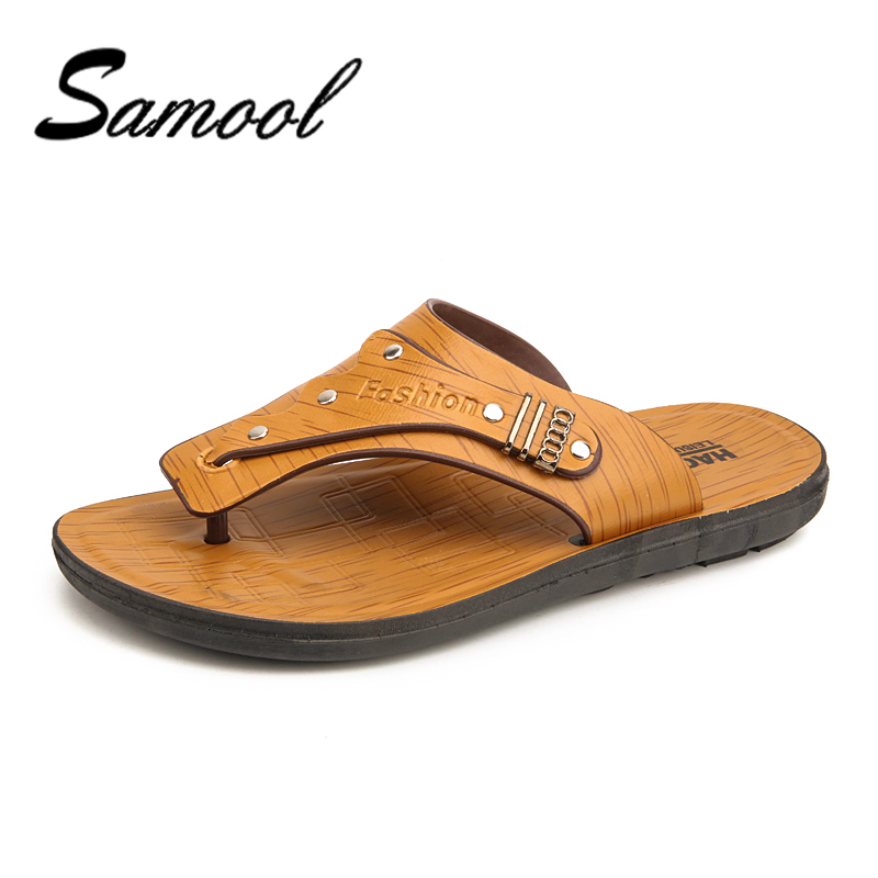 Samool классика Летние тапочки Для мужчин кожаные сандалии-Вьетнамки для Для мужчин качество, удобные мужские пляжные сандалии обувь jx4