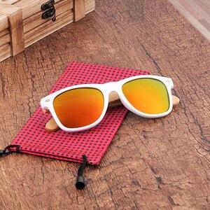 Image 5 - بوبو الطيور النساء نظارة شمسية من خشب البامبو الاستقطاب الأبيض مربع إطار خمر نظارات oculos دي سول feminino C CG007