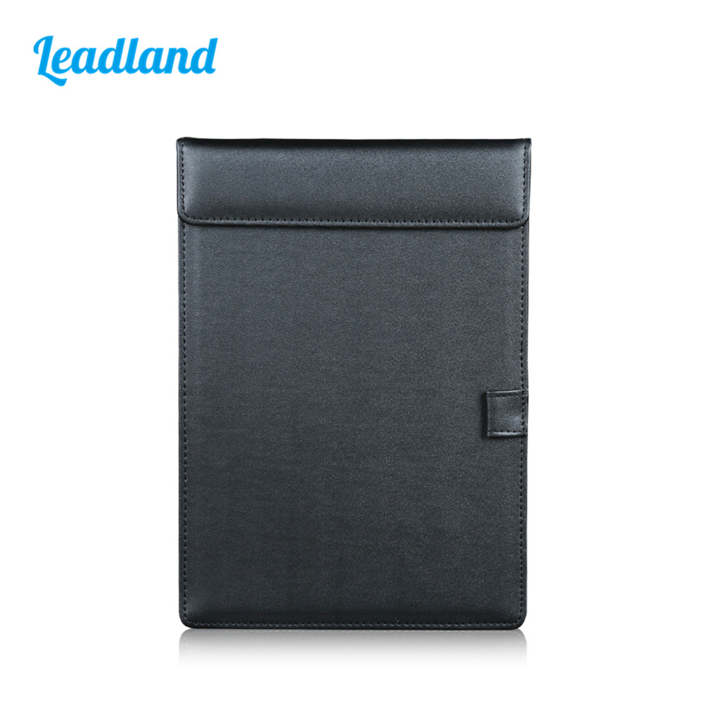 A5 File Paper Clipboard Folder Hardboard Cover PU Leather With Pen Holder Black 1260 a4 leather discolor manager file folder restaurant menu cover custom portfolio folders office portable pu document report cover