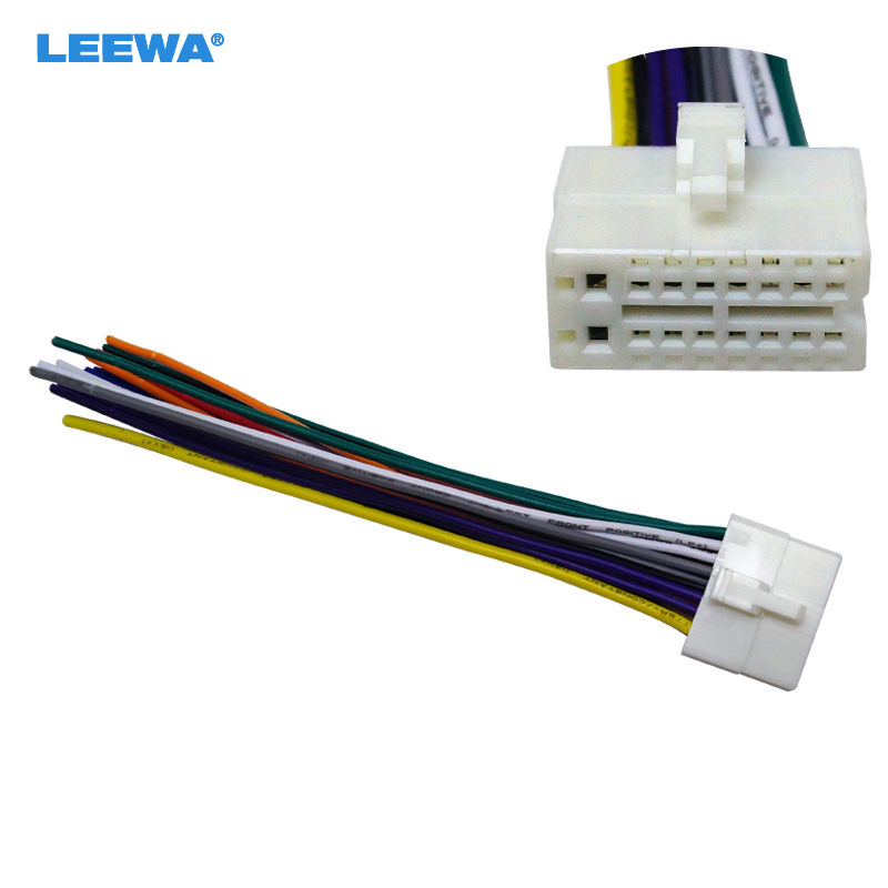 Leewa 10pcs Car Radio Stereo 16pin Wire Harness Male Plug Cable Connector Adapter For Mitsubishi