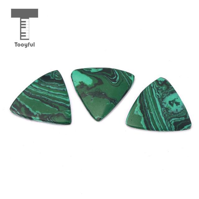 Tooyful 3 Pieces Guitar Finger Picks Pendant Plectrums Malachite Stone 2mm for Guitar Bass Banjo Ukulele Replacement Accessory