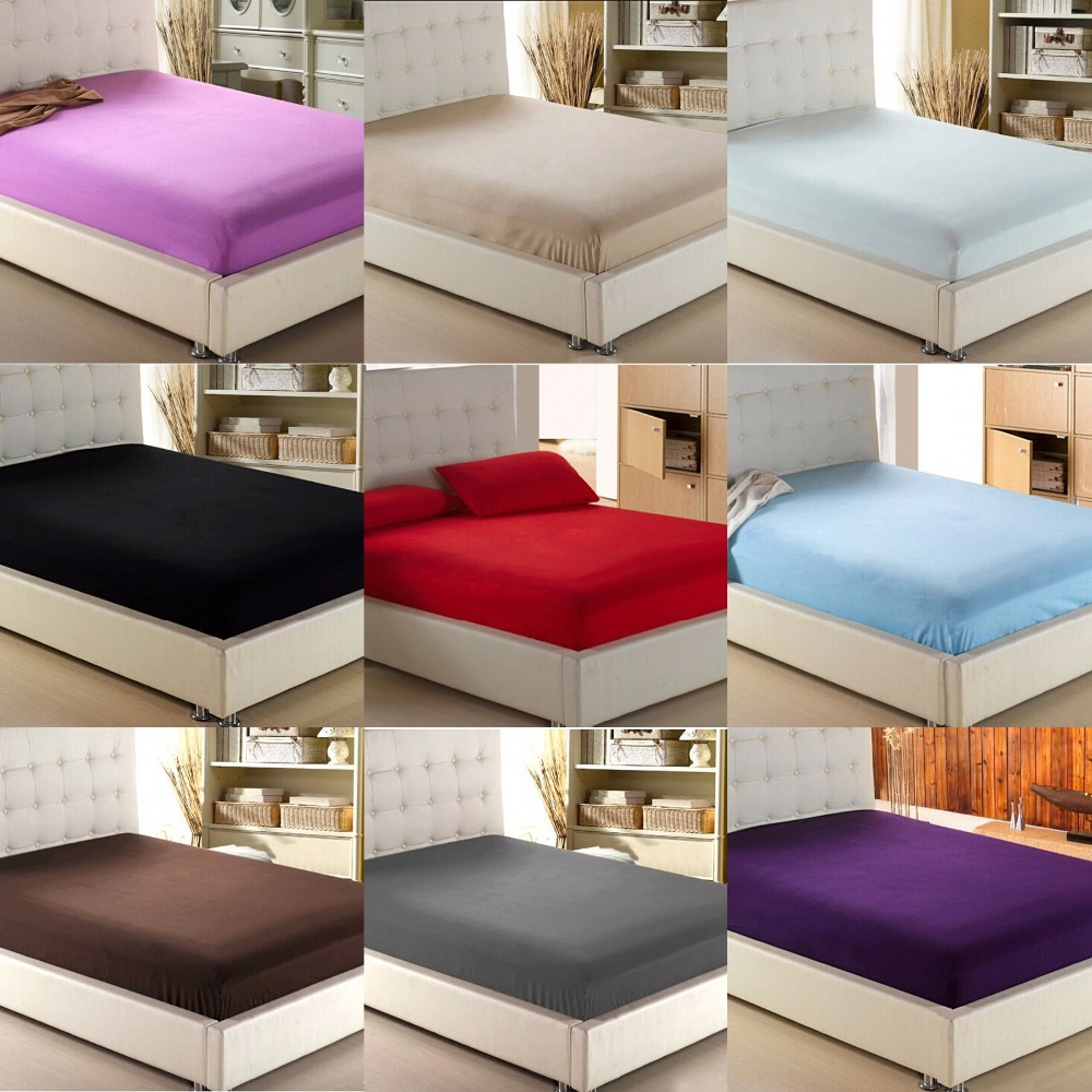 Home Textile Solid Color Sheets Fitted Bed Sheet Elastic Mattress Cover Bed  Linen Bedspread Single Full Queen King Free Shipping In Sheet From Home U0026  Garden ...