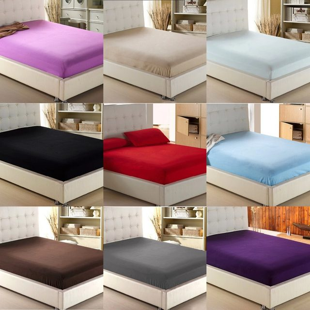 Home Textile Solid Color Sheets Fitted Bed Sheet Elastic Mattress Cover Bed  Linen Bedspread Single Full Queen King Free Shipping