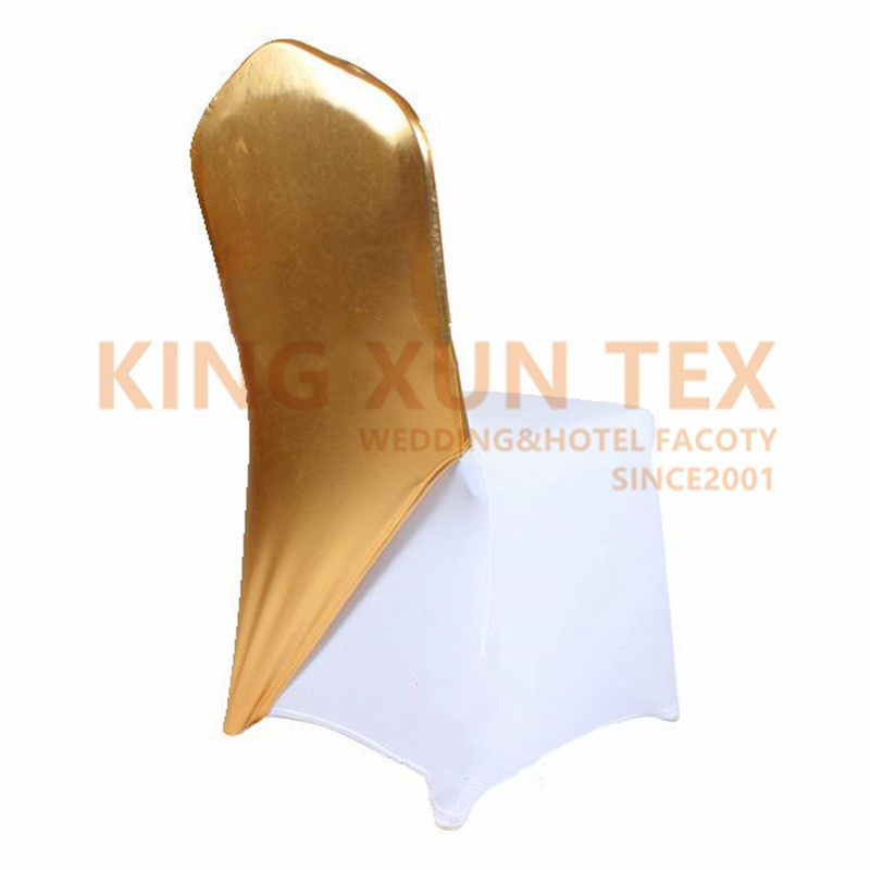 Wholesale Mettalic Bronzing Spandex Chair Cap Cover Lycra Stretch Chair Covers Hood For Wedding Event Decoration