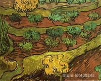 artwork by Vincent Van Gogh Olive Trees against a Slope of a Hill Oil painting canvas reproduction High quality Hand painted