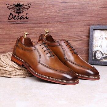 415de2e4ab2 VIKEDUO 2019 zapatos de cuero genuino para Hombre Zapatos de vestir de  oficina de boda Zapatos marrón Patina hecho a mano correa de monje calzado  Casual