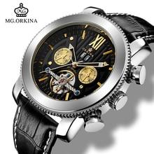 本革腕時計 メンズ大機械式トゥールビヨン腕時計自動メンズ 発光オート日付/週/月 Waterprooof