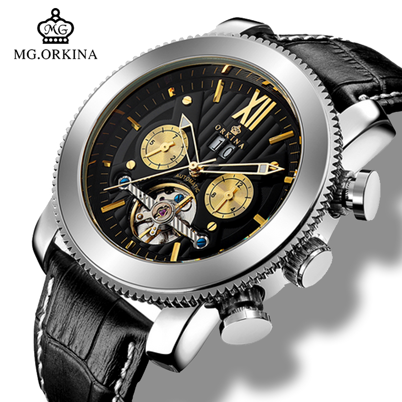 MG.Orkina Tourbillon Automatic Watch Men Mechanical Luminous Auto Date/Week/Month Waterprooof 47MM Dial Genuine Leather Watches forsining a165 men tourbillon automatic mechanical watch leather strap date week month year display