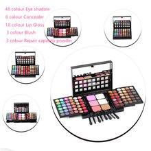 Free shipping 78 color kit 48 color eye shadow 18 color lip gloss repair 3 color trimming powder blush mixed sliding makeup set