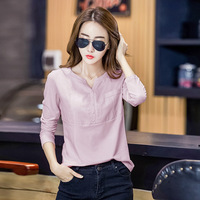 Spring Autumn White T Shirt Women V Neck Long Sleeve Fashion Plus Size T Shirt Cotton