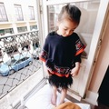 new 2015 autumn winter fashion Retro pattern collision color children girls knitted sweater suit 2~7 age baby girl cape