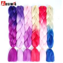 AOSIWIG 24″ Ombre Kanekalon Jumbo Braiding Hair Synthetic Crochet Braid Hair Extensions 100g Bulk Hair