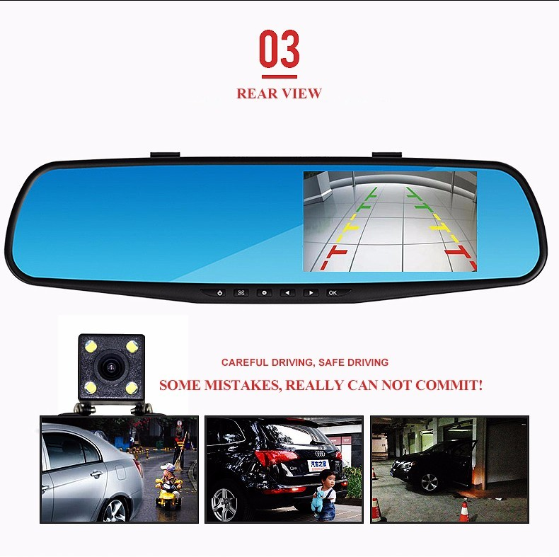 Aggressive 4.3 Hd 1080p Dual Lens Car Dvr Rear View Mirror Led Camera Videodriving Recorder Car & Truck Parts